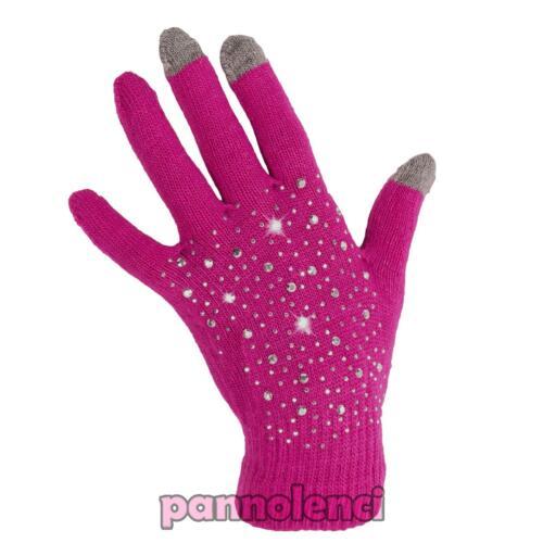 Guanti lana donna per touch screen capacitivi 3 dita borchie idea regalo Jz-81