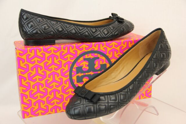 83f686b9e12c2 NIB TORY BURCH MARION BLACK QUILTED LEATHER GROSGRAIN BOW REVA BALLET FLATS  9.5