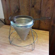 Old Vintage Colander Strainer Juicer W/Stand & Wood Pestle Old-Time Farm Auction