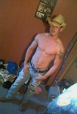 Shirtless Male Hunk Country Cowboy Torn Jeans Athletic Build Ink PHOTO 4X6 D635