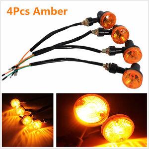 4Pcs 12V Motorcycle Amber Round Turn Signal Direction Indicator Light Lamp Bulbs