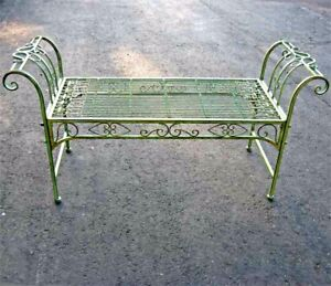 Magnificent Details About Garden Bench Plant Stand Wrought Iron Antique Mint Green Finish Pdpeps Interior Chair Design Pdpepsorg