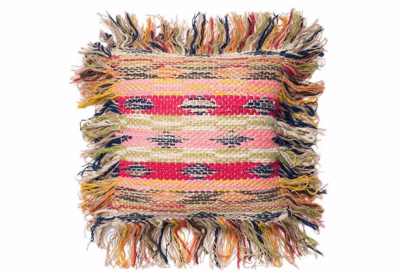 Loloi Fringe Accent Decorative Pillow Down Fill Multicolord Jute 18  x 18   NWT
