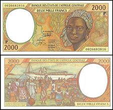 Central African States 2,000 (2000) Francs, 2000, P-603Pg, UNC, PREFIX-P, Chad