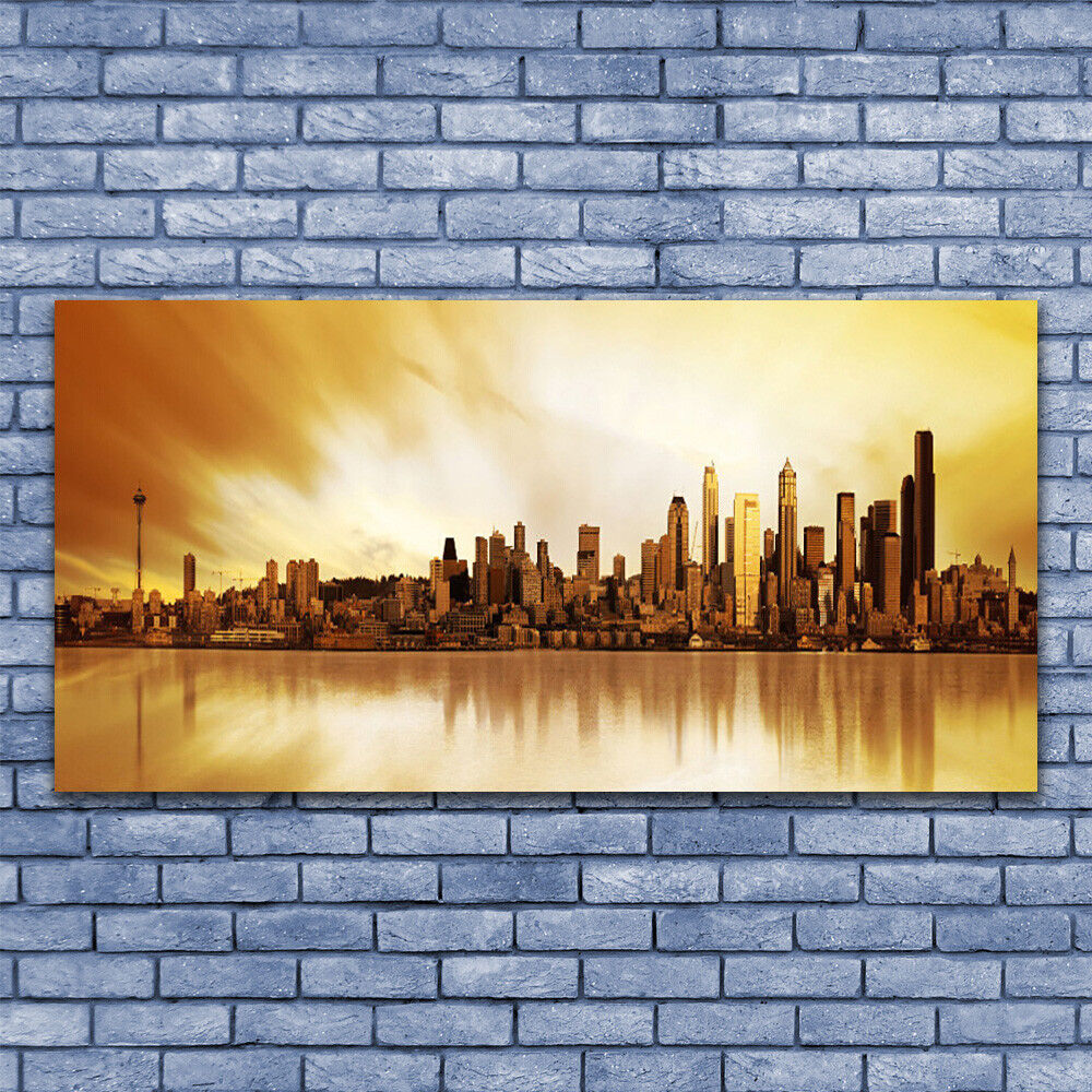 Glass print Wall art 140x70 Image Picture City Houses