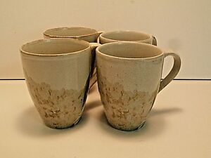 222-Fifth-Tranquility-Coffee-Coffee-Mugs-Cups-Pale-Flowers-Stoneware-Lot-of-4