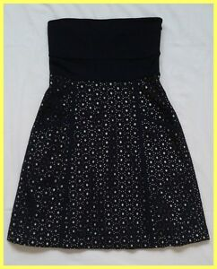 276f0bfce19 Image is loading SUSANA-MONACO-BLACK-JERSEY-TOP-COTTON-EYELET-STRAPLESS-