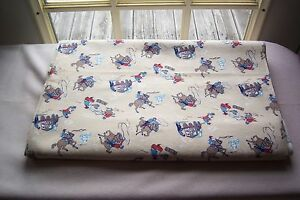 Vtg Cotton Flannel Fabric Novelty Print Western Cowboy Western Theme 36 wide