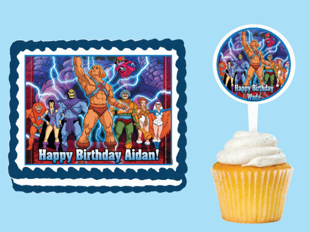HE MAN Edible Birthday Party Cake Cupcake Topper Plastic Pick Stickers