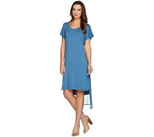 Details about H by Halston Layered T-Shirt Dress with Cross Back Ocean Blue  1X Plus Size QVC