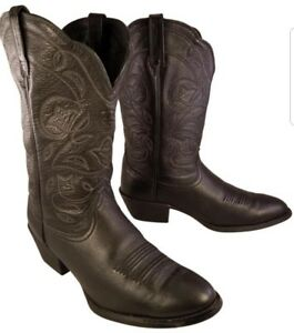 ARIAT-HERITAGE-WOMAN-BOOTS-BLACK-LEATHER-WESTERN-COWBOY-SIZE-8-5-B
