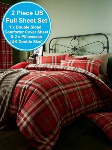 CATHERINE LANSFIELD KELSO TARTAN DOUBLE DUVET COVER SET RED