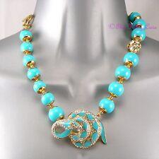 Turquoise Bead Enamel Snake Serpent T-bar Statement Necklace w Swarovski Crystal