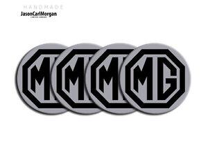 MG-ZT-ZS-ZR-Alloy-Wheel-Centre-Caps-Badges-Black-amp-Silver-57mm-Logo-Cap-Badge