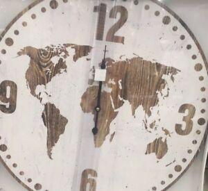 Détails Sur Grande Horloge 60cm Pendule Carte Du Monde Bois Mapmonde Vintage Produit Neuf