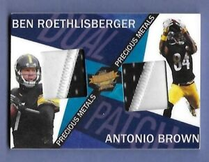 first rate 35bce bb119 Details about BEN ROETHLISBERGER & ANTONIO BROWN - DUAL GAME WORN JERSEY -  SERIAL #'d 30/30