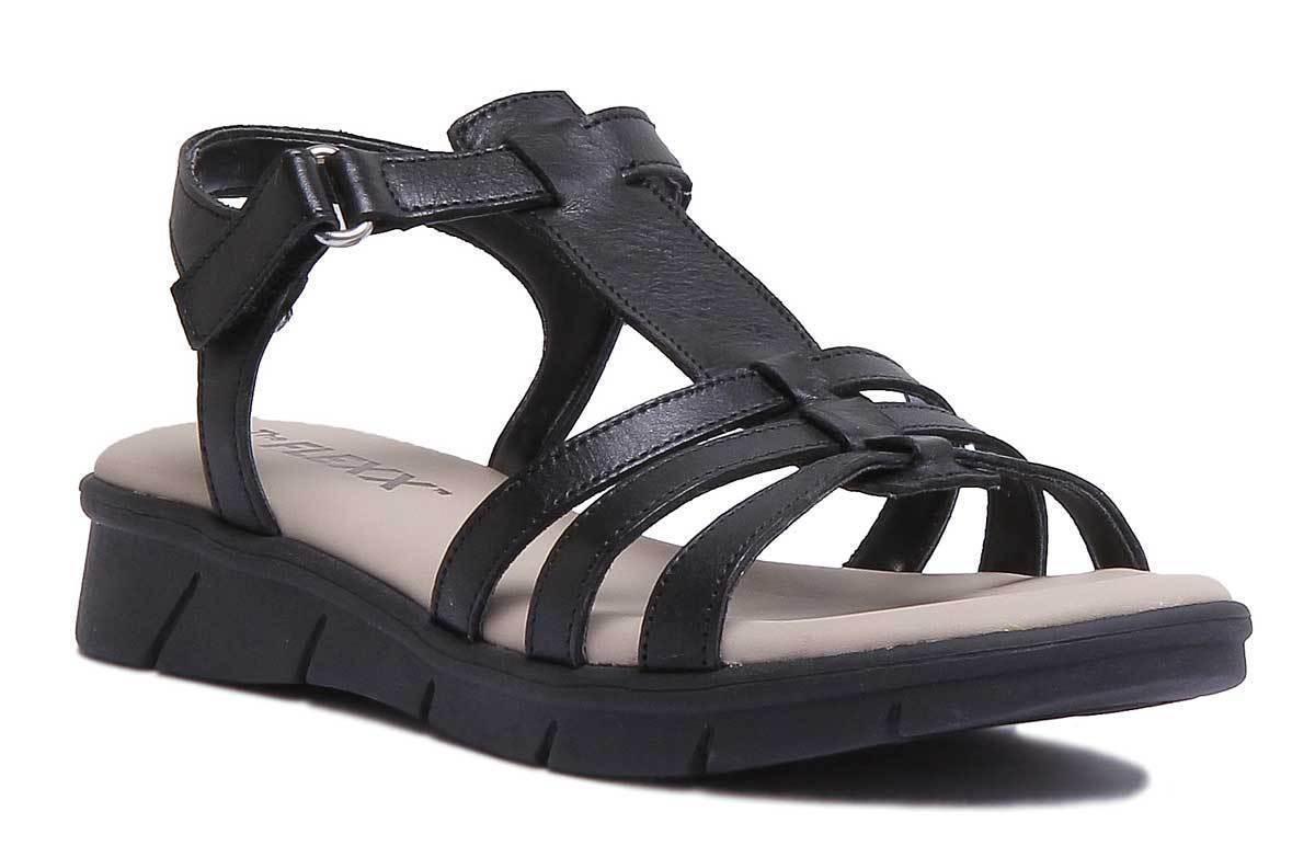The Flexx Bubu Set Women Sandals Leather Matt Black Strappy Wedge Sandals Women Size 5ed21a
