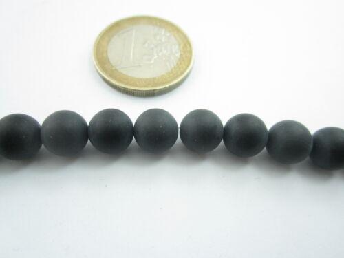1 filo di onice nera cabochon smerigliata opaca di 8 mm lungo 39 cm circa