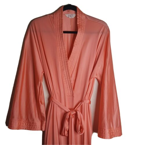 Vtg VANITY FAIR Wrap Peignoir Robe Size L Orange A