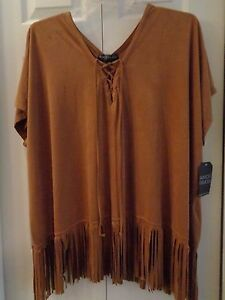 5928a00d1 NWT Plus Size Almost Famous Faux Suede Fringed Poncho Shirt Top 1X ...