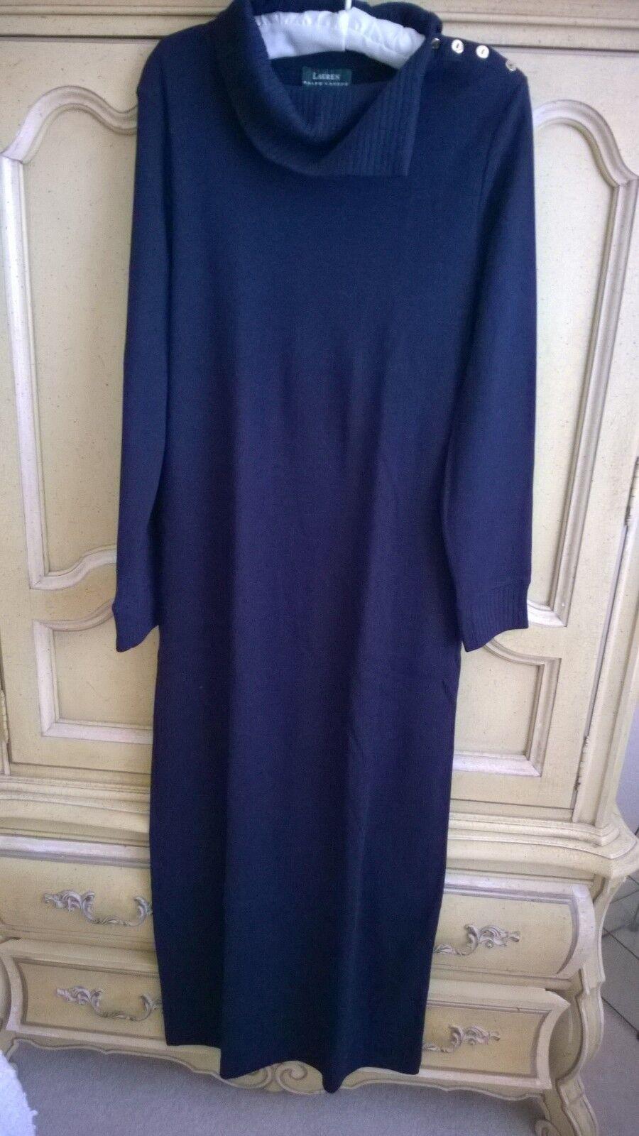Vintage Lauren Navy bluee Cotton Knit Sweater Dress  M