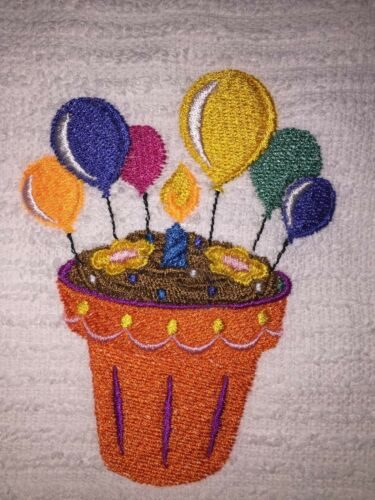 Flower Pot Cupcake  w Birthday Candle Embroidered White Kitchen Bar Hand Towel