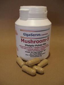 90-Vegan-Kapseln-Pilz-pulver-550mg-Agaricus-Cordyceps-Maitake-Shii-take-Reishi