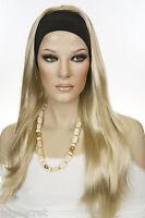 Light Golden Blonde Blonde Long Straight Headbands Wigs