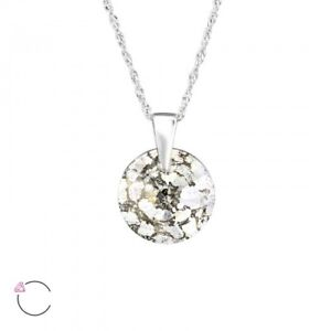 LA CRYSTALE 925 Sterling Silver Gold Patina Crystal Circle Pendant Necklace