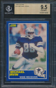 1989-Score-18-Michael-Irvin-Rookie-Card-Graded-BGS-9-5-NS