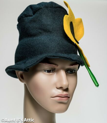 Clown Hat Black Soft Cloth Hobo Top Hat With Large Yellow Felt Flower One Size