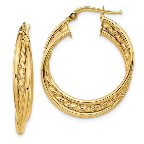 14k Yellow Gold Twisted Rope Design Wide Italian Made Hoop Earrings Gift