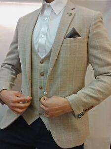 Men's Marc Darcy Beige Tan Checked Tweed 3 Piece Suit Ideal For Weddings