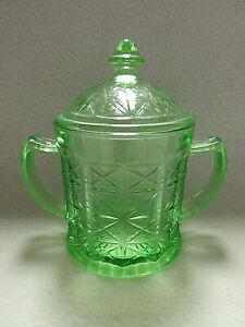 Scarce-Hazel-Atlas-X-Design-Colonial-Block-Green-Vaseline-Covered-Sugar-Bowl