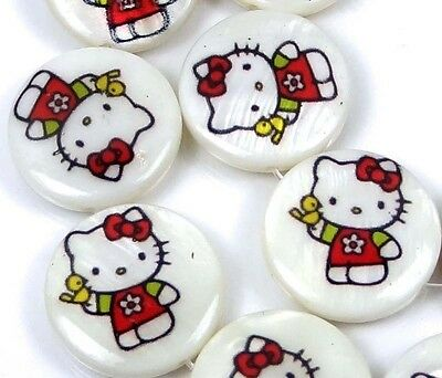 """18mm Disney Hello Kitty Mother Of  Pearl Coin Disc Beads 16"""""""