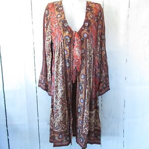 New-Angie-Duster-Kimono-M-Medium-Rust-Paisley-Floral-Tie-Front-Boho-Peasant