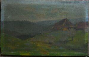 OLGEMALDE-SCHWARZWALD-JUGENDSTIL-SCHWARZWALDHOF-BAUERNHAUS-WIESE-UM-1920-ANTIK