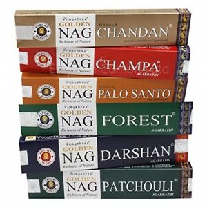 Details about Golden Nag Incense sticks Palo Santo Sandalwood Forest  Patchoul x 6 Boxes (A1)
