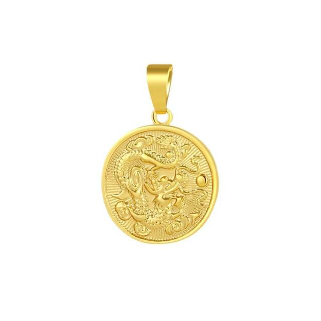 18K Gold Filled Golden Dragon Pendant Necklace Chain Solid Men Jewelry