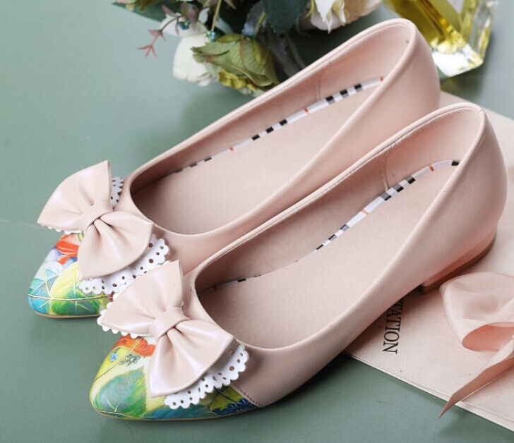 eleganti comode ballerine scarpe donna colorate rosa fiocco tacco 2.5 cm 8802