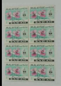 1965-Sabah-orchid-stamp-block-of-8-mint