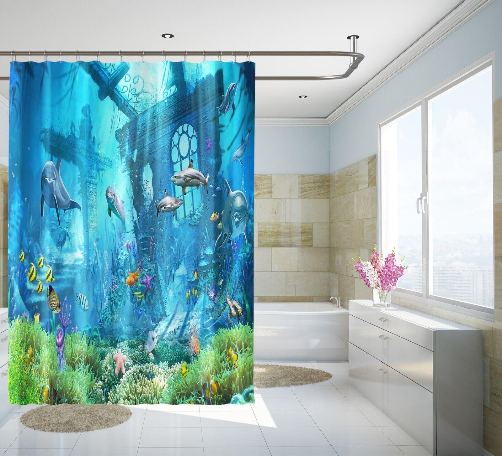 3D Dauphin Corail 23 Rideau de Douche Imperméable Fibre Salle de Bain Home Windows Toilette