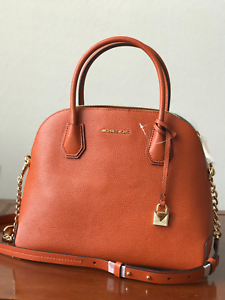 NWT-MICHAEL-KORS-MERCER-LARGE-DOME-LEATHER-SATCHEL-CROSSBODY-BAG-ORANGE