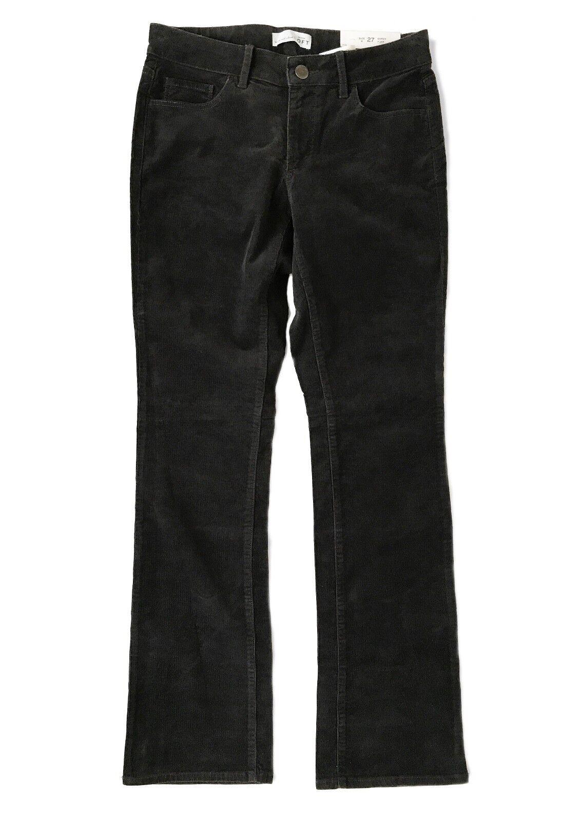 Loft - Damen 4 Hoch (4T) - Nwt - Kohle Grau Kurvige Stiefelcut Cord Hose