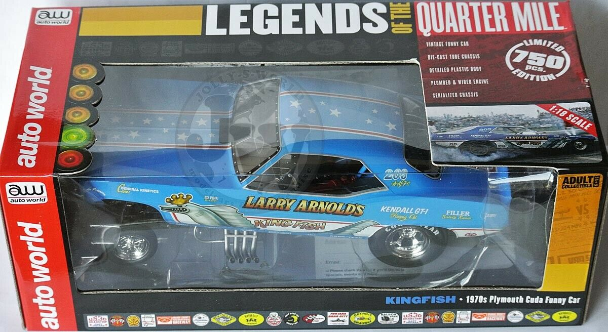 acquista online oggi AUTO WORLD - 1970s Plymouth Cuda Cuda Cuda divertimentoNY auto  re FISH  Larry Arnold - 1 18 LIM  vanno a ruba