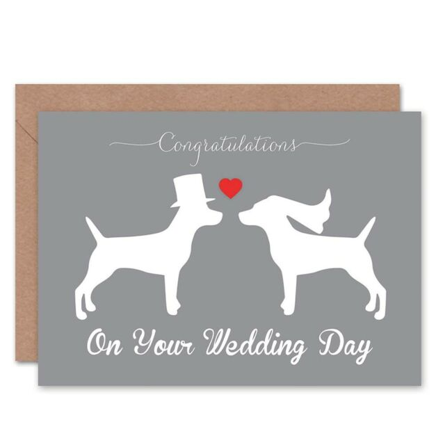 Wedding Day Animal Silhouette Love Two Dogs Heart Blank Greeting Card
