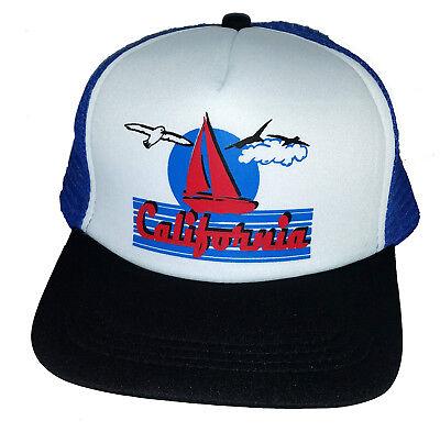 California Sailboat Snapback Mesh Trucker Hat Cap Royal Blue