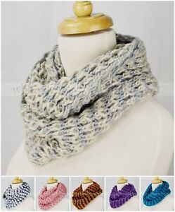 Multi-Color-Knit-Infinity-Winter-Scarf-Elastic-Warm-Striped-Circle-Loop-Cowl