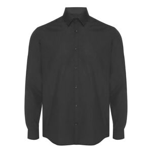 Mens-Black-Formal-Shirt-Long-Sleeve-Regular-Fit-Plain-Business-Work-Collar-Smart