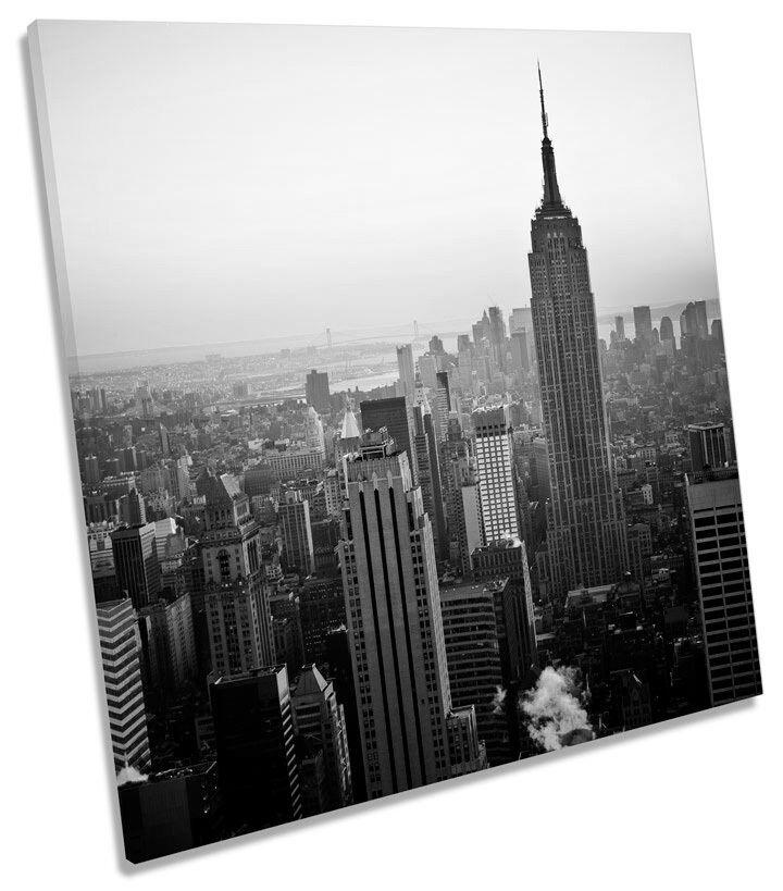 EMPIRE Stati edificio NEW YORK B&W SQUARE CANVAS WALL ART PICTURE PRINT